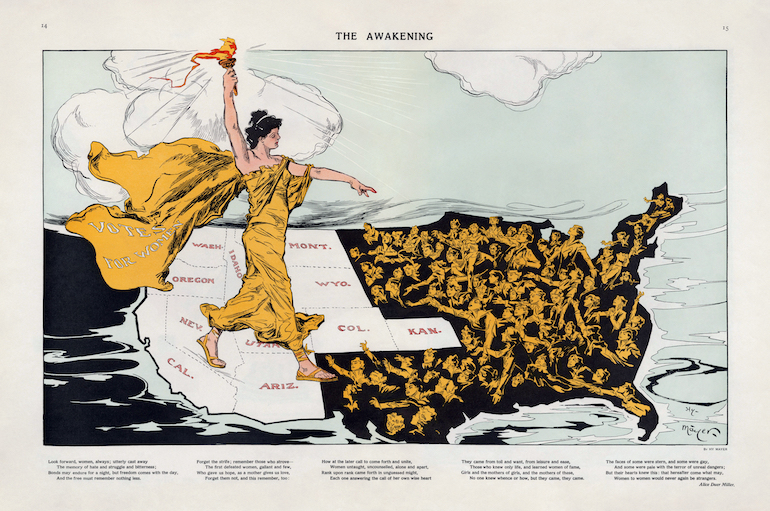 Illustration shows a torch-bearing female labeled 'Votes for Women,' symbolizing the awakening of the nation's women to the desire for suffrage, striding across the western states, where women already had the right to vote, toward the east where women are reaching out to her.