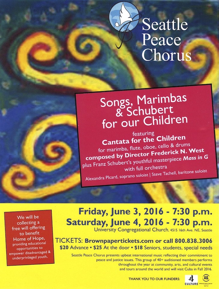 "Seattle Peace Chorus presents ""Songs, Marimbas, & Schubert for our Children"" poster"